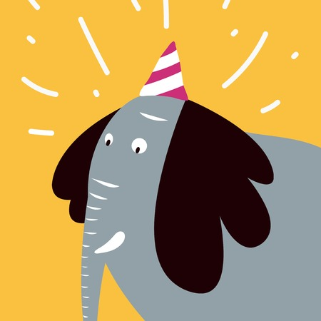 Bush elephant wearing a party hat vector graphic