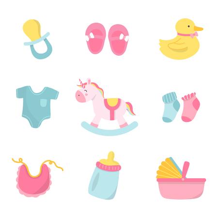 Set of cute baby shower vectors Illustration