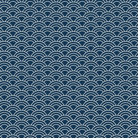 Seamless Japanese pattern with wave motif (Seigaiha) vector