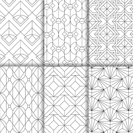 Black geometric seamless patterns set on white background Illustration