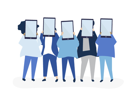 Character illustration of people holding digital tablets Foto de archivo - 115280198