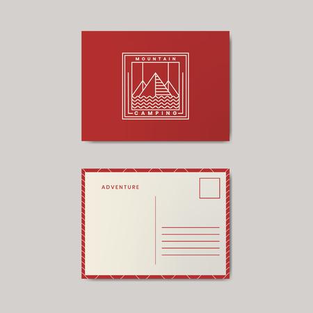 Post card design template mockup Illustration