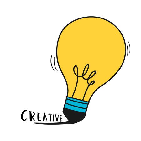 Hand drawn light bulb illustration Illustration