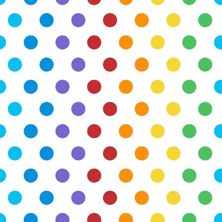 Seamless colorful polka dot pattern vector