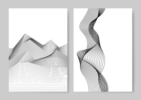 Data visualization dynamic wave pattern vector 向量圖像