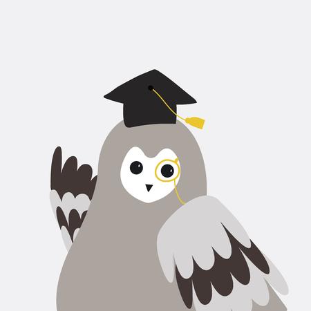Cute gray owl wildlife cartoon  vector