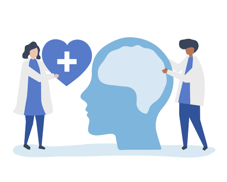 Neuroscientists with a giant chart of human brain and a heart icon Illustration