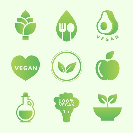 Collection of vegan icon vectors Illustration