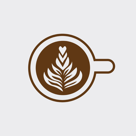 Cup of cappuccino with tree vector Çizim