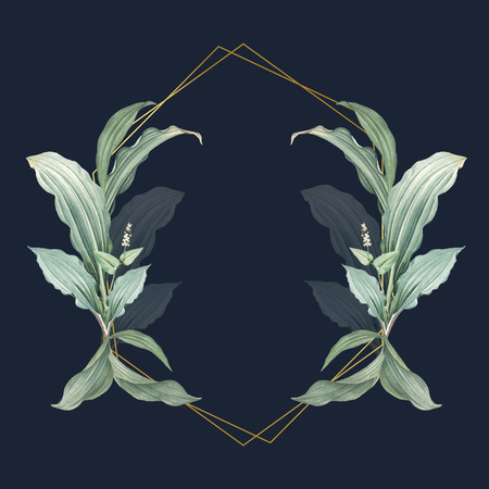 Empty frame with green leaves design vector Illustration