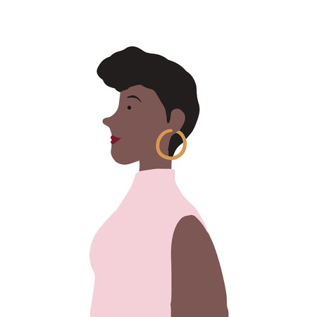 Strong African American female in profile vector