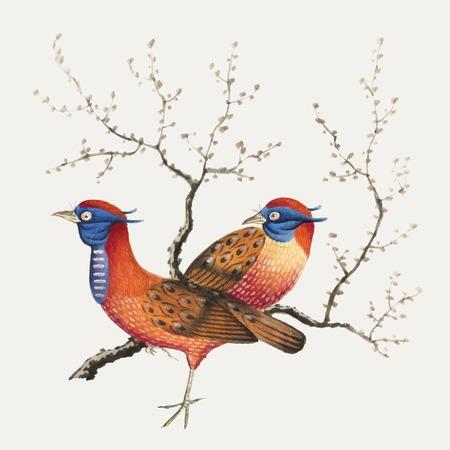 Peinture chinoise représentant deux oiseaux ressemblant à des faisans avec des plantes à fleurs.