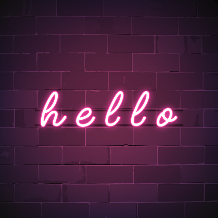 Pink hello neon sign vector
