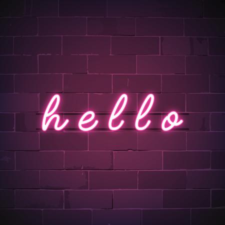 Pink hello neon sign vector