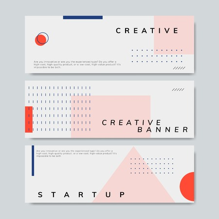 Set of minimal Memphis design start-up banner vector