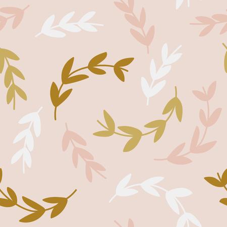 Patrón simple de ramas sobre fondo rosa Ilustración de vector