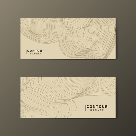 Brown abstract map contour lines banners set Illustration