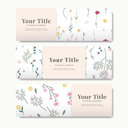 Set of flower banner vector