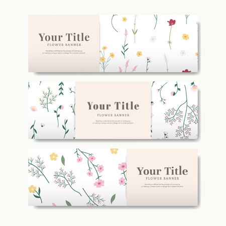 Set of flower banner vector Illustration
