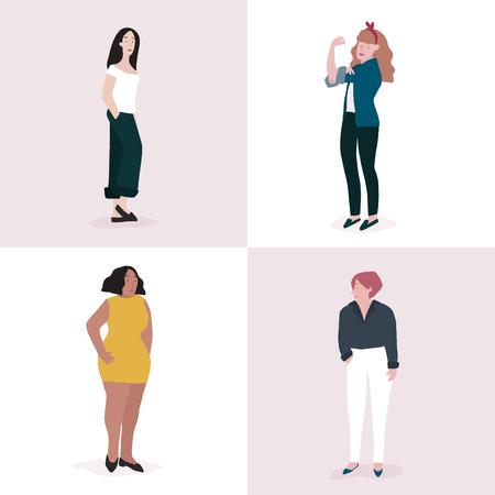 Set of strong women full body vector Foto de archivo - 126250675