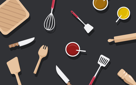 Kitchen utensils and ingredients vector set Ilustração