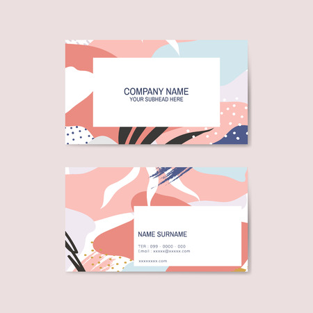 Colorful Memphis pattern business card vector Illustration