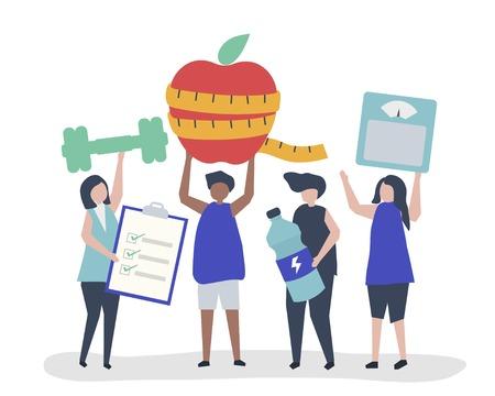 People eating healthy and exercising regularly Illusztráció