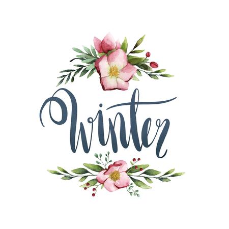 Winter watercolor style typography vector