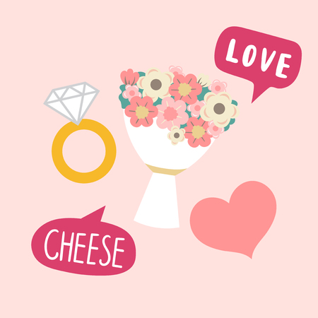 Flower bouquet and diamond ring wedding photo booth props vector