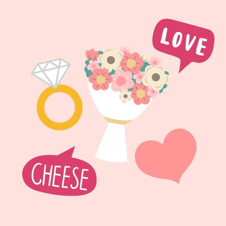 Vector de accesorios de cabina de fotos de boda de ramo de flores y anillo de diamantes