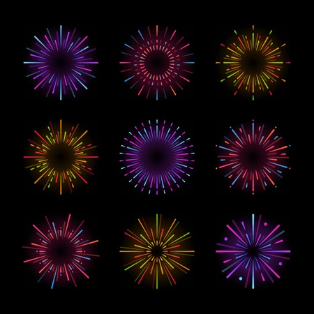 Set of firework explosion vectors Stock Vector - 126250684