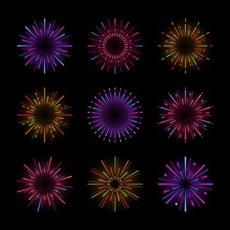 Set of firework explosion vectors