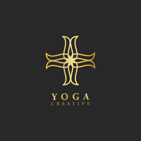 Yoga creative design logo vector Çizim