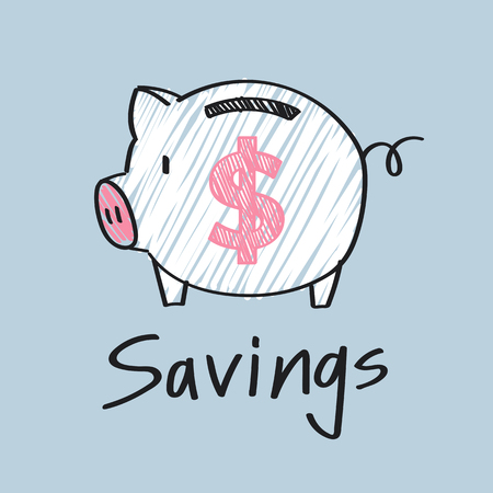 Piggy bank with a dollar sign illustration