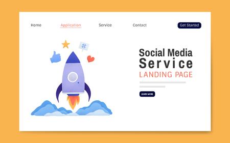 Social media service landing page layout vector Banco de Imagens - 126250699