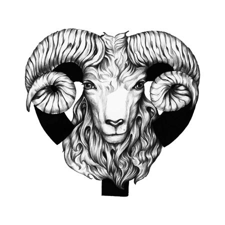 Hand getekend horoscoop symbool van Ram illustratie