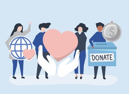 Personnes portant des icônes liées aux dons et à la charité Vecteurs