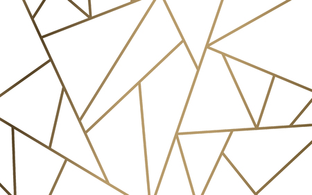 Modern mosaic wallpaper in white and gold Ilustrace