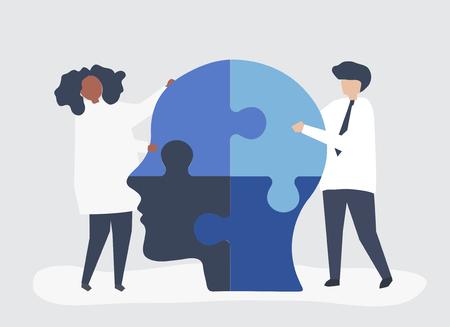 Personas conectando piezas de rompecabezas de una cabeza juntas Ilustración de vector