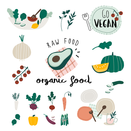 Vegan organic food set vectors