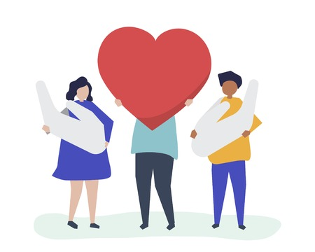 People holding heart and hand icons Illustration
