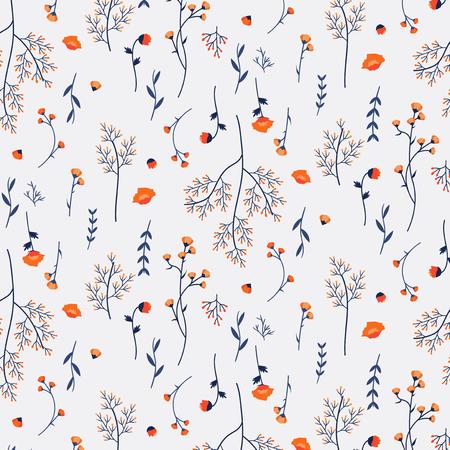 Nahtloser Mustervektor der wilden Blume Vektorgrafik