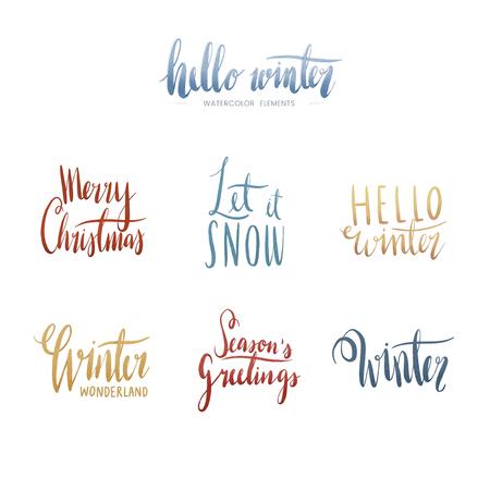Set of winter watercolor typography vectors