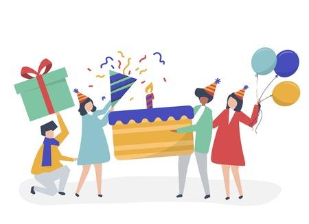 Character illustration of people holding birthday party icons Vektoros illusztráció