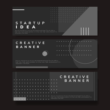 Set of minimal Memphis start-up ideas banner vector Ilustracja