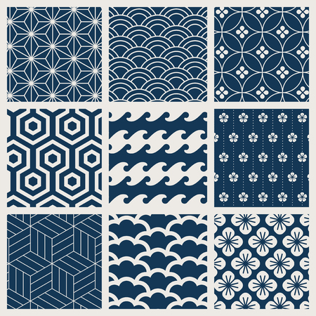 Japanese-inspired pattern vector set Çizim