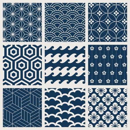 Japanese-inspired pattern vector set Illustration