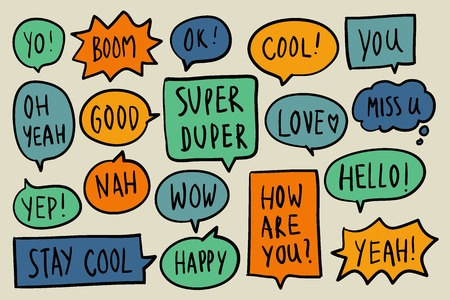 Collection of colorful speech bubbles vector Ilustração