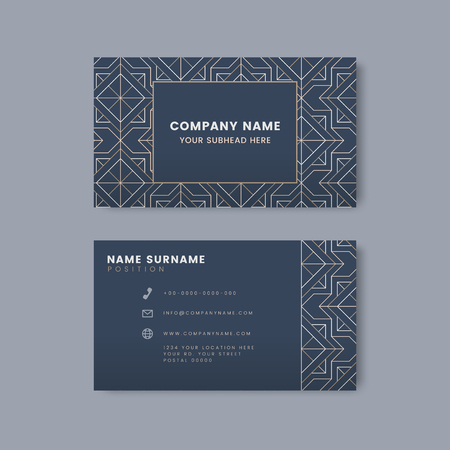 White geometric pattern on blue business card vector