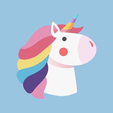 Magical rainbow unicorn sticker vector